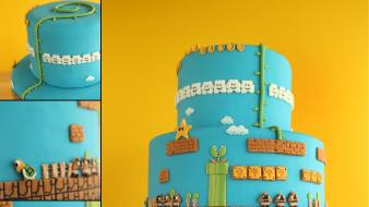 Nintendo video games food super mario bros. cake wallpaper