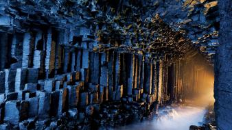 Nocturnal scotland cave caves columns wallpaper
