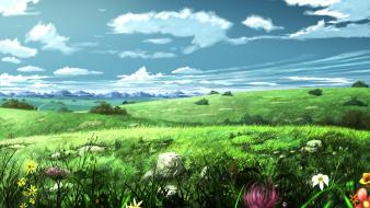 Original content clouds flowers grass landscapes Wallpaper