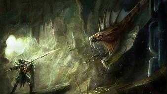 Paintings caves dragons snakes fantasy art artwork warriors wallpaper