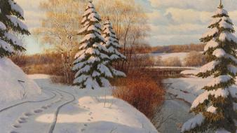 Paintings winter snow trees artwork Wallpaper