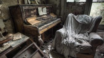 Piano old dust chairs abandoned house wallpaper