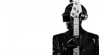 Punk guitars french helmets dj white background wallpaper
