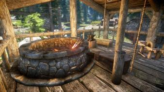 Scrolls v: skyrim forge smithing video games wallpaper