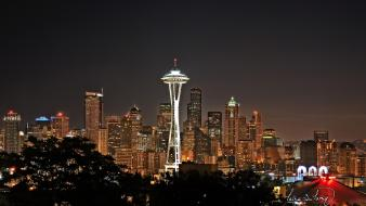 Seattle night skyline wallpaper