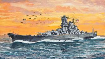 Ships japanese navy artwork yamato sea battleship wallpaper