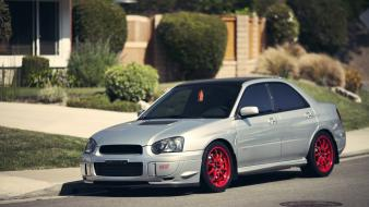 Subaru impreza cars gray red sti wallpaper