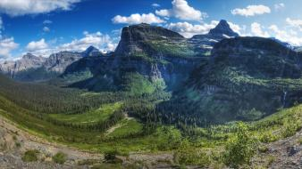 Summer valleys glacier panorama ravines national park wallpaper