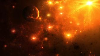 Sun outer space planets fantasy art artwork wallpaper