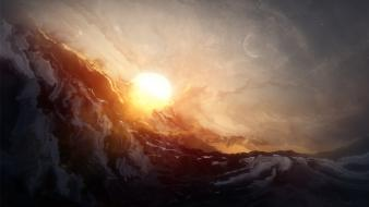 Sunset paintings sun stars moon artwork Wallpaper