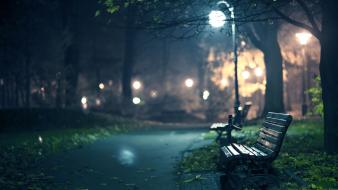 Trees cityscapes night lanterns bench pathway Wallpaper