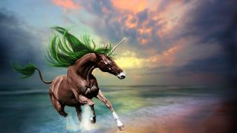 Unicorns horses artwork wallpaper