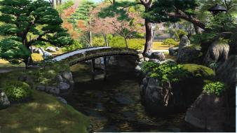 Water trees grass bridges scenic rivers artist wallpaper