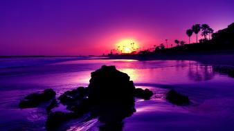 Amazing purple sunset beach wallpaper