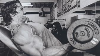 Arnold schwarzenegger black and white gym muscles strong Wallpaper