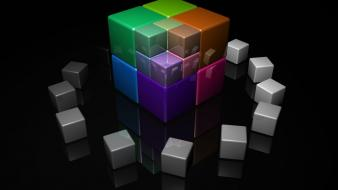 Art 3d reflections black background colors cube Wallpaper
