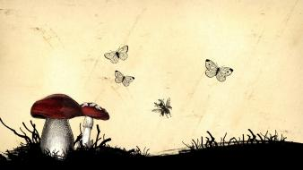 Artistic butterflies digital art mushrooms nature Wallpaper