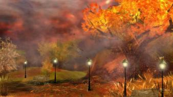Autumn fog lanterns evening streetlamps wallpaper