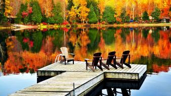 Autumn lakes piers reflections relaxing wallpaper