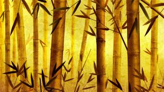 Bamboo digital art oriental bright wallpaper