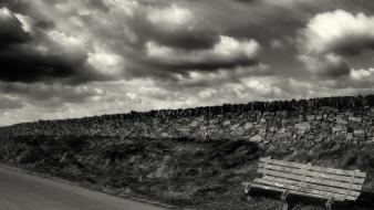 Bench landscapes monochrome nature wallpaper