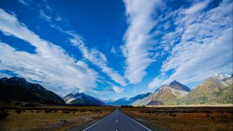 Blue mountains clouds highways new zealand roads skies Wallpaper