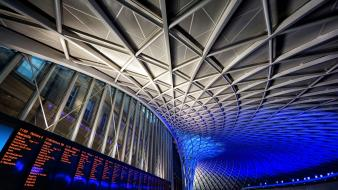 Blue red architecture gray buildings steel airports modern Wallpaper