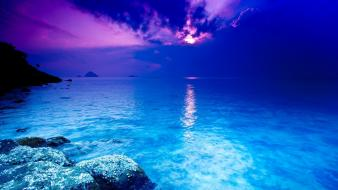Blue sea clouds landscapes nature wallpaper