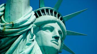 City statue of liberty usa blue skies Wallpaper