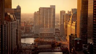 Cityscapes chicago urban buildings usa morning Wallpaper