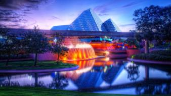 Cityscapes lights glass imagination pyramids wallpaper