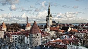 Estonia town church bay tallinn medieval buildings townscape wallpaper