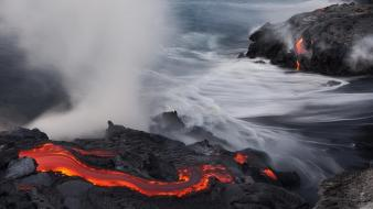 Fire lava rocks fried rivers volcanic beach wallpaper