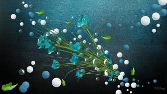 Flowers bubbles digital art aqua aquamarine wallpaper