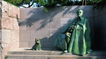 Franklin d. roosevelt washington dc dogs men statues wallpaper