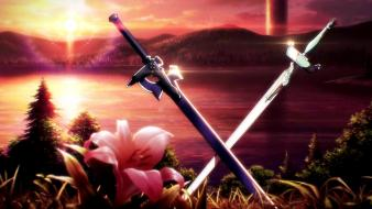 God weapons steel fantasy art lakes swords wallpaper