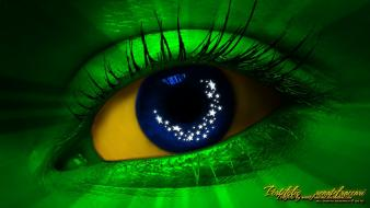 Green blue eyes yellow brazil digital art wallpaper