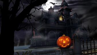 Halloween castle at night wallpaper