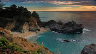 Hills california waterfalls creek skies sea beach wallpaper