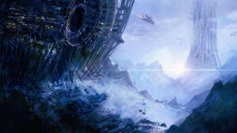 Landscapes futuristic spaceships science fiction artwork wallpaper