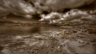 Landscapes sepia sea beach wallpaper