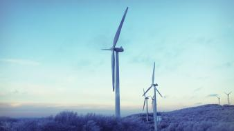 Landscapes windmills wind power turbines wallpaper