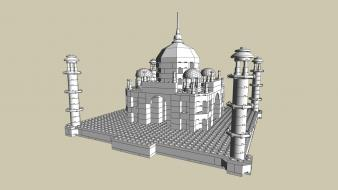 Legos taj mahal simple background wallpaper