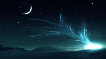 Moon colors outer space planets stars Wallpaper