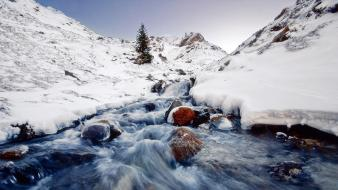 Mountains landscapes nature winter snow streams wallpaper