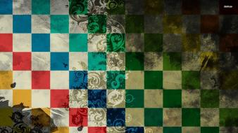 Multicolor checkered digital art swirls plaid squares wallpaper