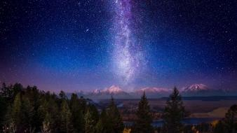 National park milky way skies snowy peaks wallpaper