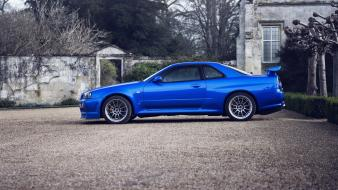 Nissan skyline gt-r blue cars parking r34 wallpaper