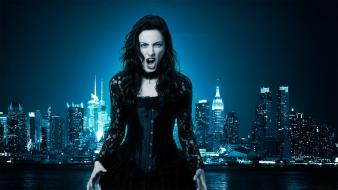 Outdoors lace gothic vampires skyscrapers choker actress wallpaper