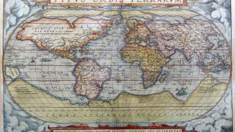 Paper vintage latin continents world map old wallpaper